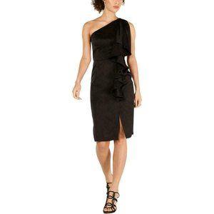 Womens Ruffled Midi Party Cocktail Dress Black